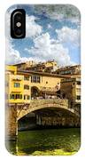 Florence -  Ponte Vecchio From The Northwestern Bank - Vintage IPhone Case