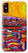 Florence Sunset 10 Modern Impressionist Abstract City Knife Oil Painting Ana Maria Edulescu IPhone Case