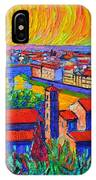Florence Sunset 4 Modern Impressionist Abstract City Impasto Knife Oil Painting Ana Maria Edulescu IPhone Case