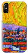 Florence Sunset 5 Modern Impressionist Abstract City Impasto Knife Oil Painting Ana Maria Edulescu IPhone Case