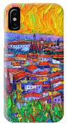 Florence Sunset 7 Modern Impressionist Abstract City Impasto Knife Oil Painting Ana Maria Edulescu IPhone Case