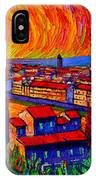 Florence Sunset 9 Modern Impressionist Abstract City Impasto Knife Oil Painting Ana Maria Edulescu IPhone Case