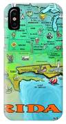 Florida Usa Cartoon Map IPhone Case