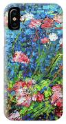 Flowering Shrub In Pink On Bright Blue 201676 IPhone Case