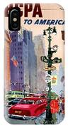 Fly Bcpa To America Vintage Poster Restored IPhone Case