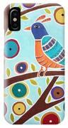 Folk Bird In Tree IPhone Case