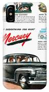 Ford Mercury Ad, 1946 IPhone Case