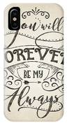 Forever Be My Always IPhone Case