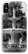 Forsyth Park Fountain Black And White With Vignette IPhone Case
