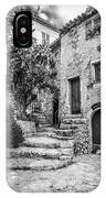 Fountain Courtyard In Eze, France 2, Blk White IPhone Case