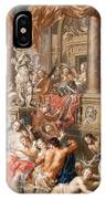 Fountain Scene In Front Of A Palace IPhone Case