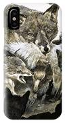 Fox Delivering Food To Its Cubs  IPhone Case