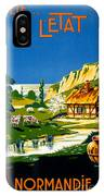 France Normandy Vintage Travel Poster Restored IPhone Case