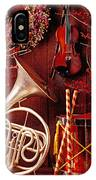French Horn Christmas Still Life IPhone Case