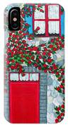 French Stone House And Rose Trellis IPhone Case