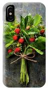 fresh Wild strawberries on wooden background  IPhone Case