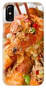 Fried Bread Coated Shrimp And Garnishes On White Serving Plate R IPhone Case