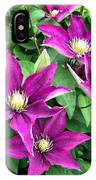 Fushia Clematis Flowers IPhone Case