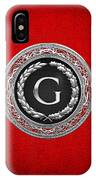 G - Silver Vintage Monogram On Red Leather IPhone Case