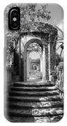 Garden Arches Of Vizcaya - Black And White IPhone Case