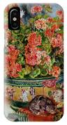 Geraniums And Cats IPhone Case