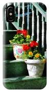 Geraniums And Pansies On Steps IPhone Case