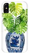 Ginger Jar Vase 1 With Monstera IPhone Case