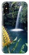 100638-ginger Lily And Hawaiian Waterfall  IPhone Case