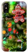 Gingerbread Man With Happy New Year 4350 IPhone Case