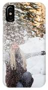 Girl Playing In The Snow In The Woods IPhone Case