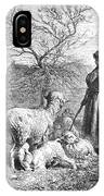Girl Tending Sheep IPhone Case