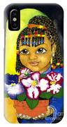 Girl With African Violet IPhone Case