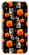 Girl With Roses And Anchors Black IPhone Case