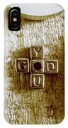 God Is You Metal Lettering Typography Near White Candles, Faith  IPhone Case