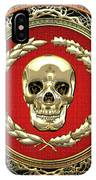 Gold Human Skull Over White Leather  IPhone Case