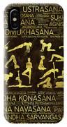 Gold Yoga Asanas / Poses Sanskrit Word Art  IPhone Case