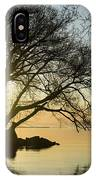 Golden Tranquility - Lacy Tree Silhouettes On The Lake Shore IPhone Case