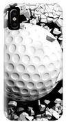 Golf Ball Breaking Forcibly Through A White Wall. 3d Illustration. IPhone Case