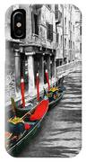 Gondolas On Venice. Black And White Pictures With Colour Detail  IPhone Case