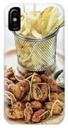 Gourmet Fried Octopus Calamari Style Set Meal With Fries IPhone Case
