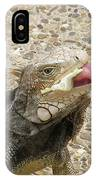 Gray Iguana Eating Lettuce With His Pink Tongue Sticking Out IPhone Case