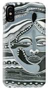 Gray Silk Maya Face In Nature Landscape Abstract Fantasy With Black Grey White Colors Sunset   IPhone Case