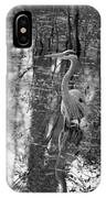 Great Blue Heron And Reflection-black And White IPhone Case