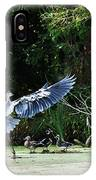 Great Blue Heron And Wood Ducks IPhone Case