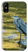 Great Blue Heron On A Golden River Vertical IPhone Case
