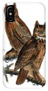 Great Horned Owl Audubon Birds Of America 1st Edition 1840 Royal Octavo Plate 39 IPhone Case