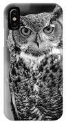 Great Horned Owl Bw IIi IPhone Case