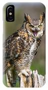 Great Horned Owl Screeching IPhone Case
