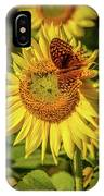 Great Spangled Fritillary On Sunflower IPhone Case