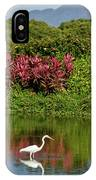 Great White Egret Fishing In A Pond With Tropical Plants And Sie IPhone Case
